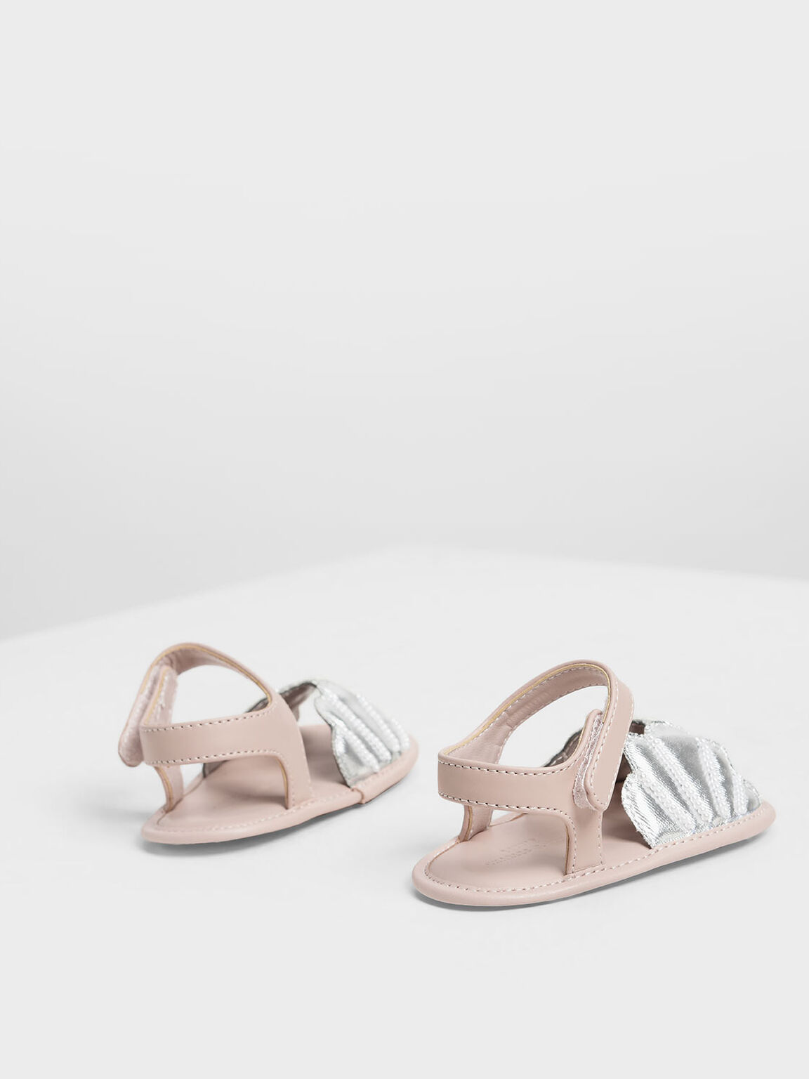 Baby Girls' Seashell Sandals, Silver, hi-res
