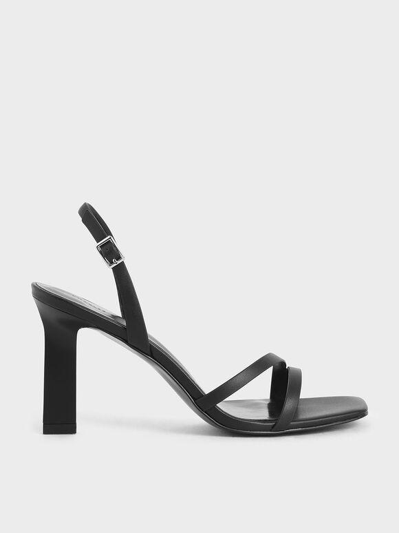 雙帶高跟涼鞋, 黑色, hi-res