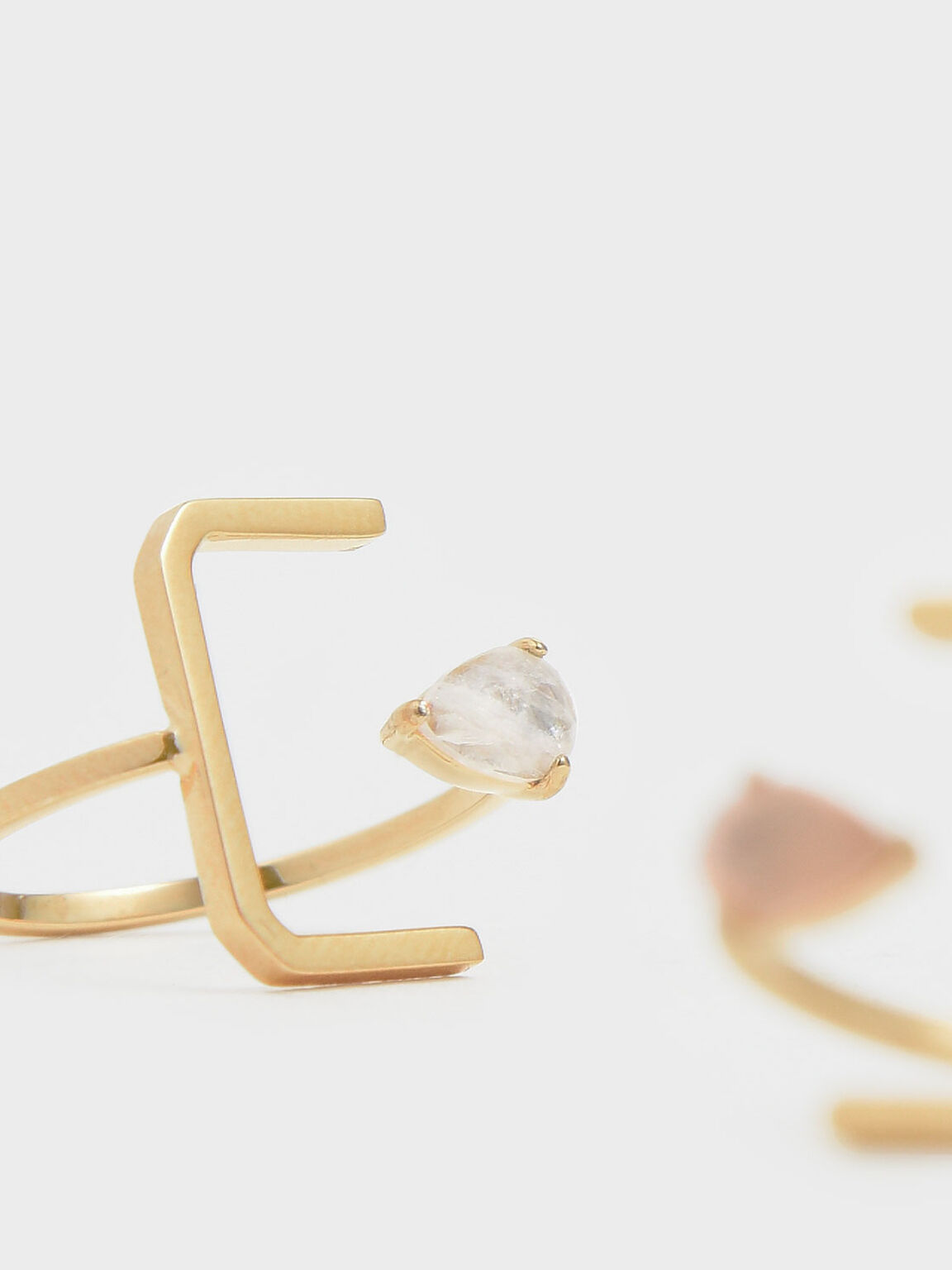 月光石U型戒指, 金色, hi-res