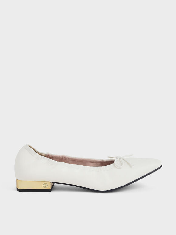 Bow-Tie Ruched Ballerina Pumps, White, hi-res