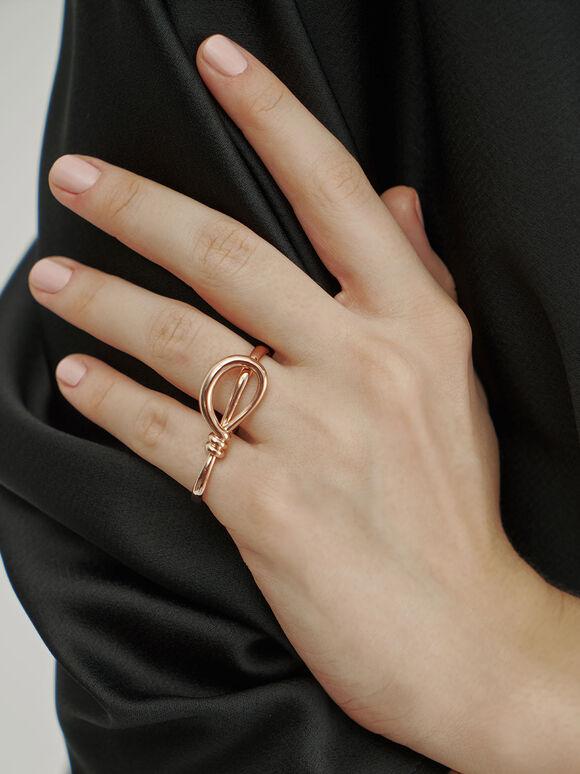 雙扭結C字戒指, 玫瑰金, hi-res