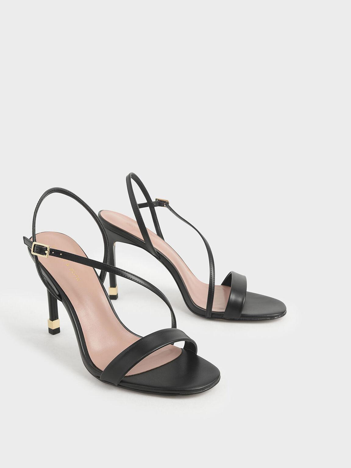 幾何帶高跟涼鞋, 黑色, hi-res