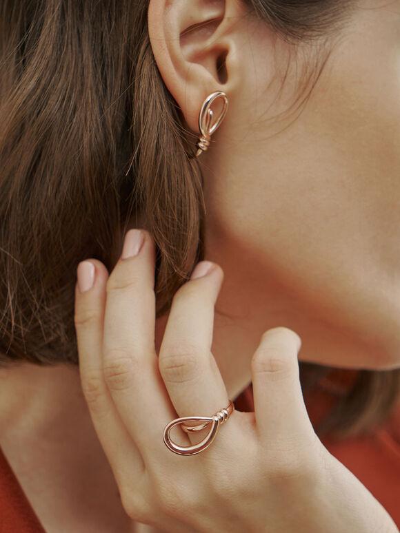立體扭結戒指, 玫瑰金, hi-res