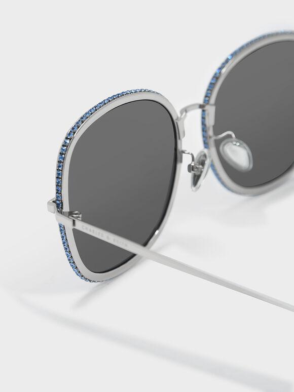 碎鑽方框墨鏡, 銀色, hi-res