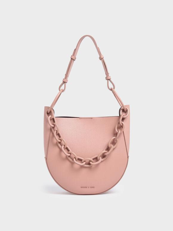 Chunky Chain Link Hobo Bag, Pink, hi-res