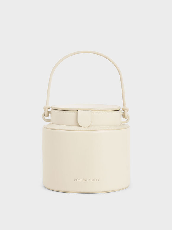 Cylindrical Bucket Bag, Cream, hi-res