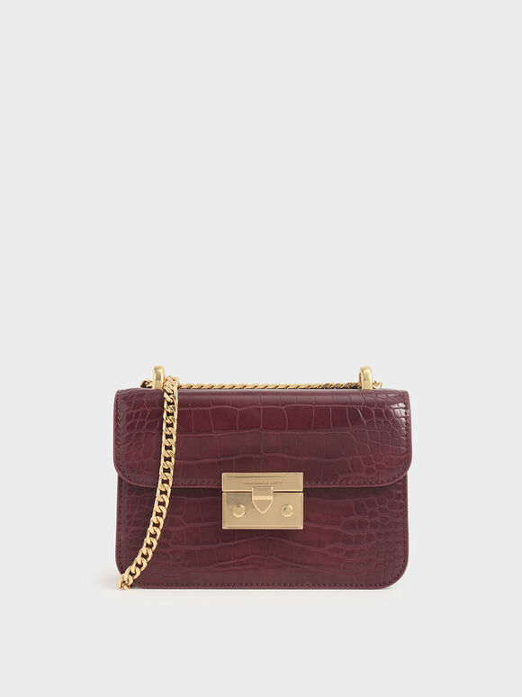 Croc-Effect Boxy Chain Strap Bag, Burgundy, hi-res