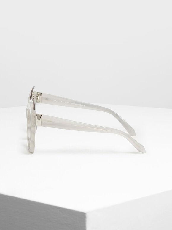 Oversized Lens Sunglasses, White, hi-res