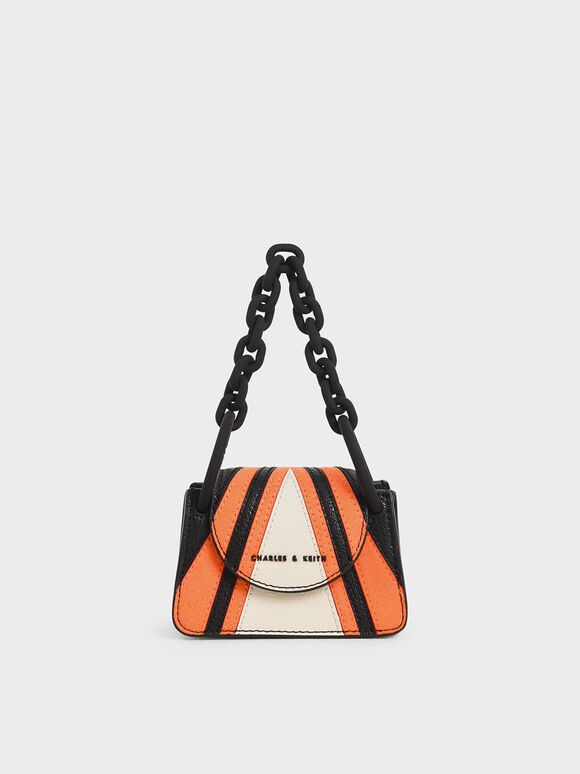 Striped Chunky Chain Handle Mini Bag, Multi, hi-res