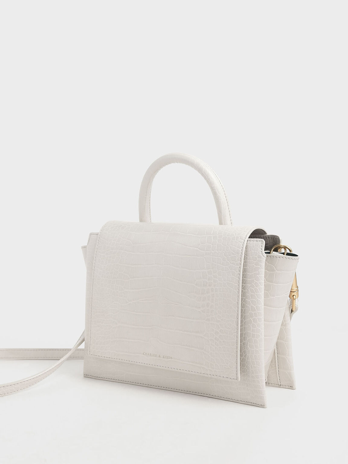 Croc-Effect Top Handle Trapeze Bag, Cream, hi-res