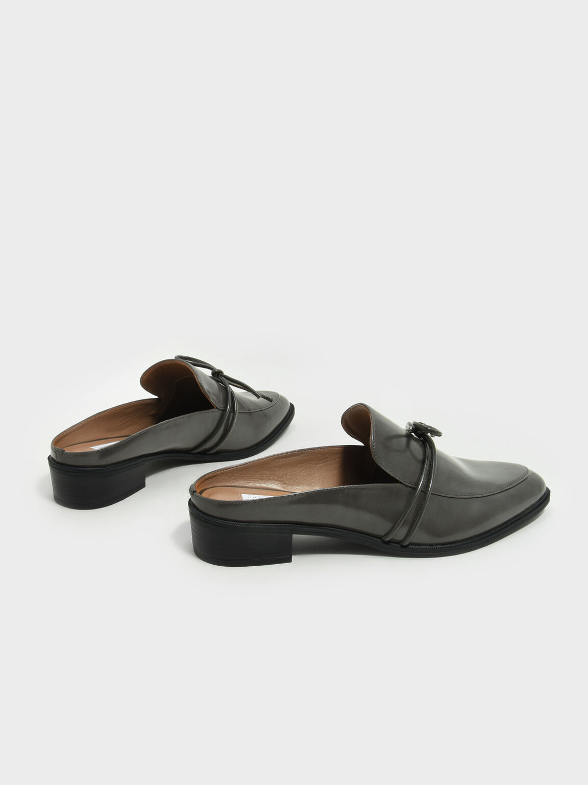 Almond Toe Knot Mules, Grey, hi-res