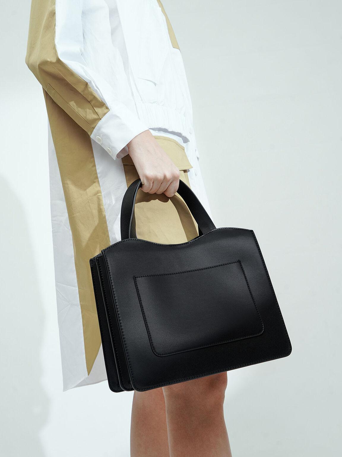 Front Pocket Double Top Handle Bag, Black, hi-res