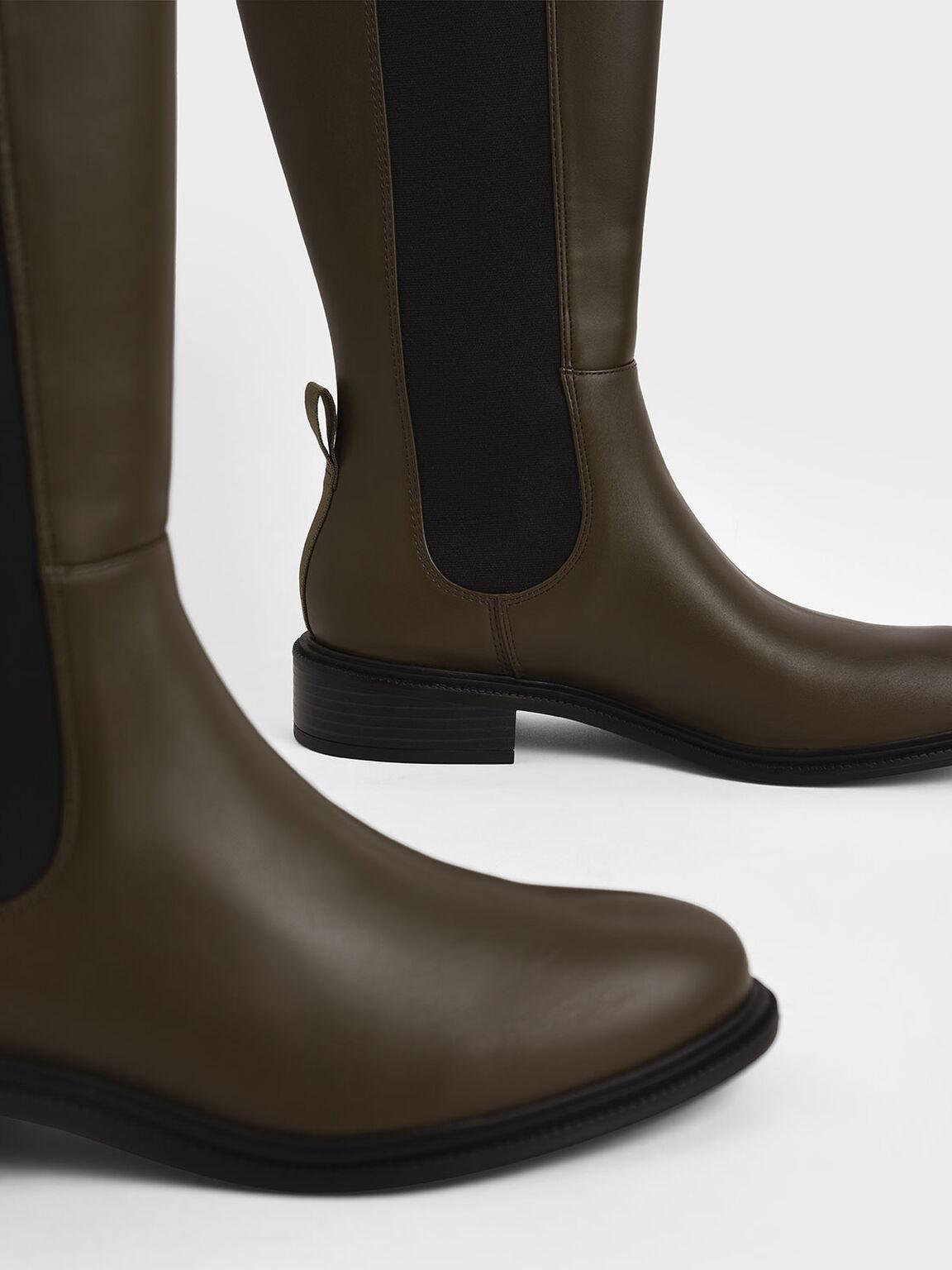 彈性帶拼接長靴, 橄欖色, hi-res