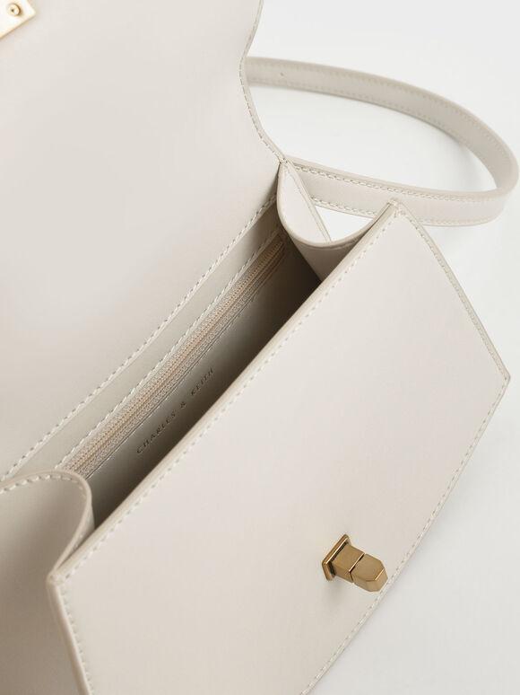 Coiled Top Handle Bag, Cream, hi-res