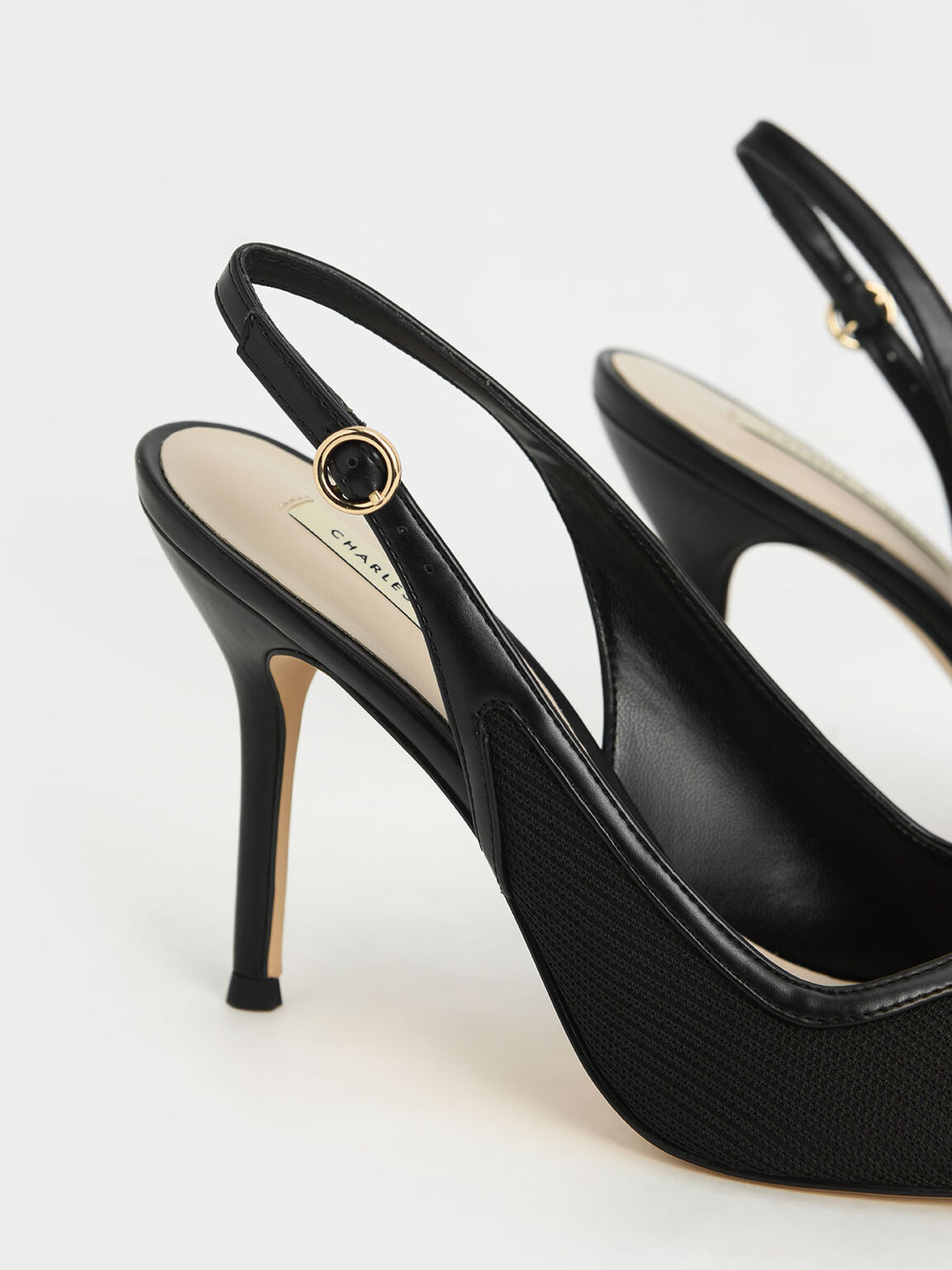 Mesh & Satin Slingback Stiletto Pumps, Black, hi-res