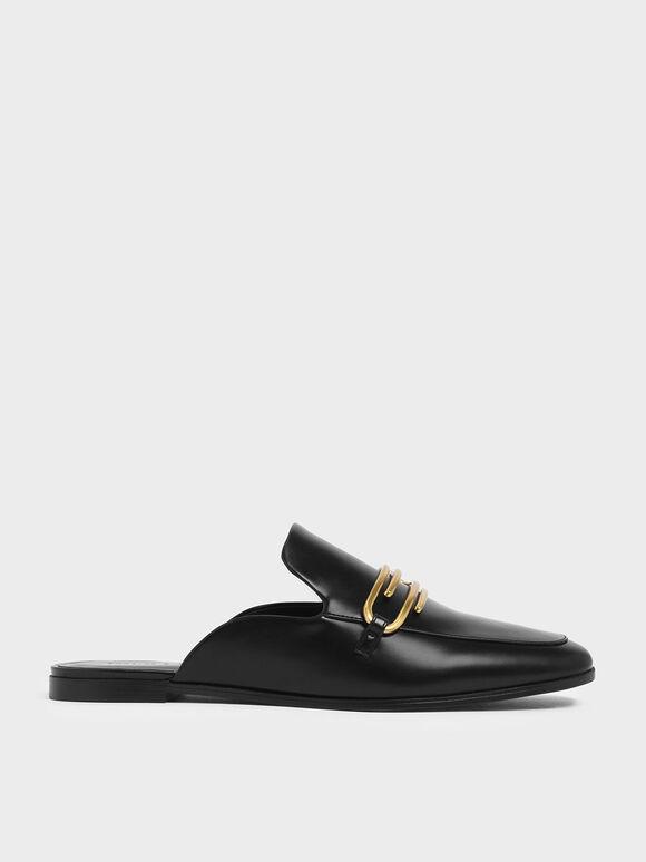金屬圈穆勒拖鞋, 黑色, hi-res