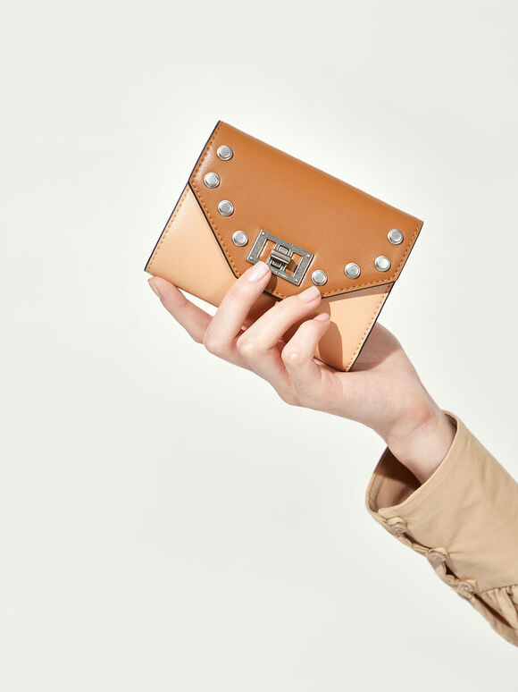 Studded Small Wallet, Nude, hi-res