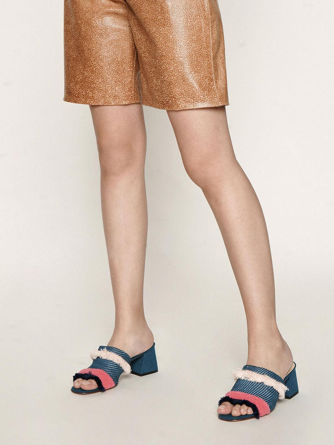 流蘇編織拖鞋, 藍綠色, hi-res
