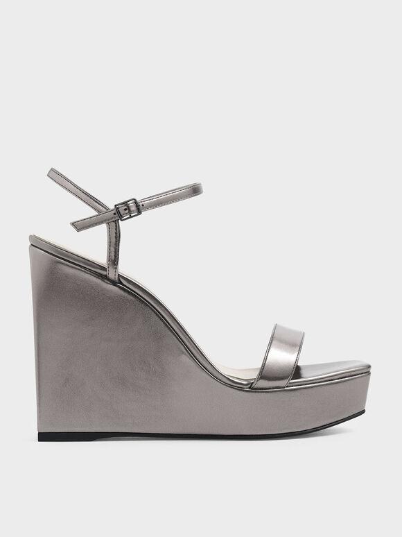 Metallic Square Toe Platform Wedges, Pewter, hi-res
