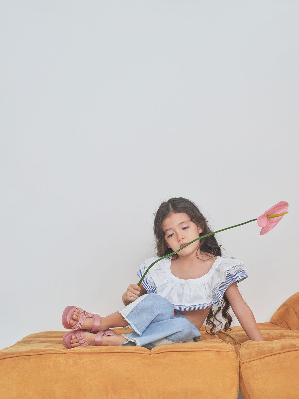 兒童緞面厚底涼鞋, 粉紅色, hi-res