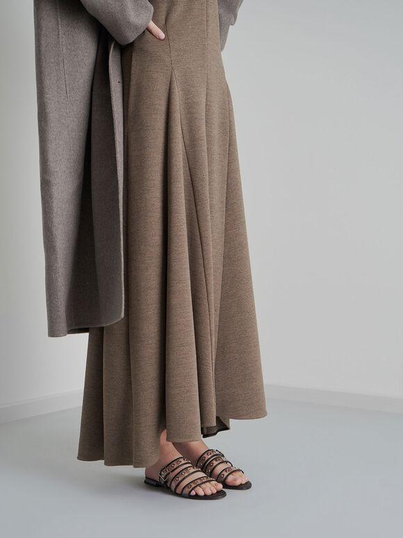 Leather Eyelet-Embellished Slide Sandals, Black, hi-res