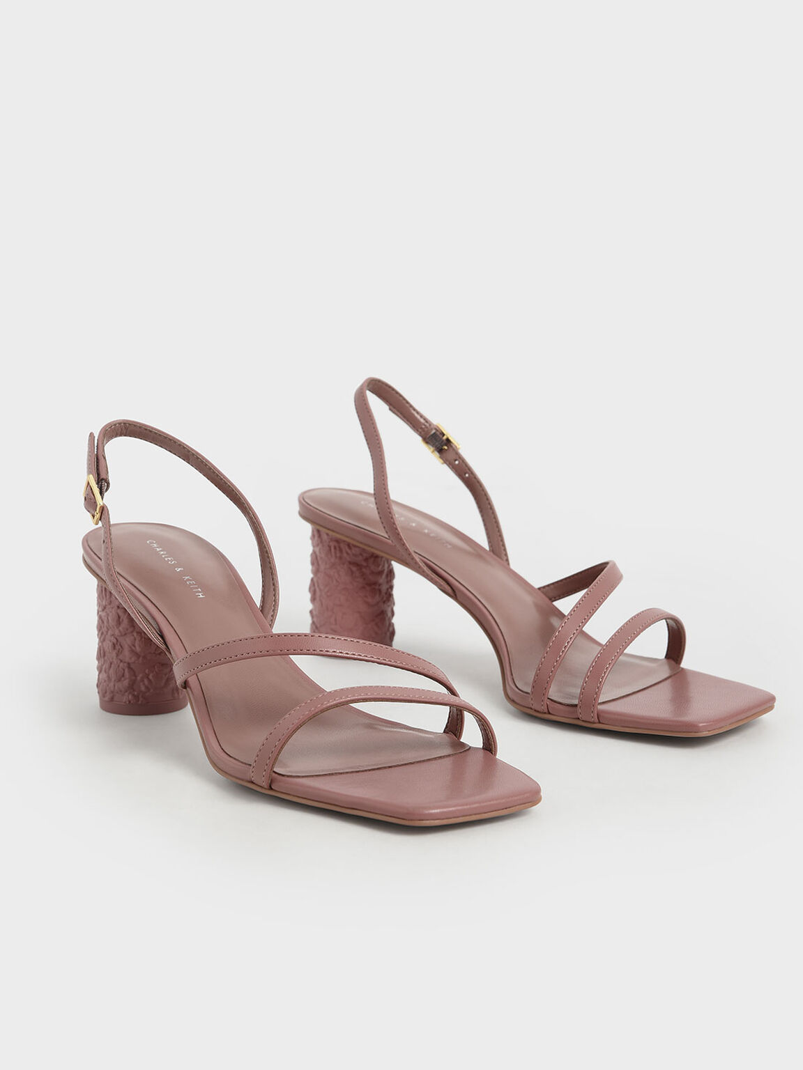 Strappy Cylindrical Heel Sandals, Pink, hi-res