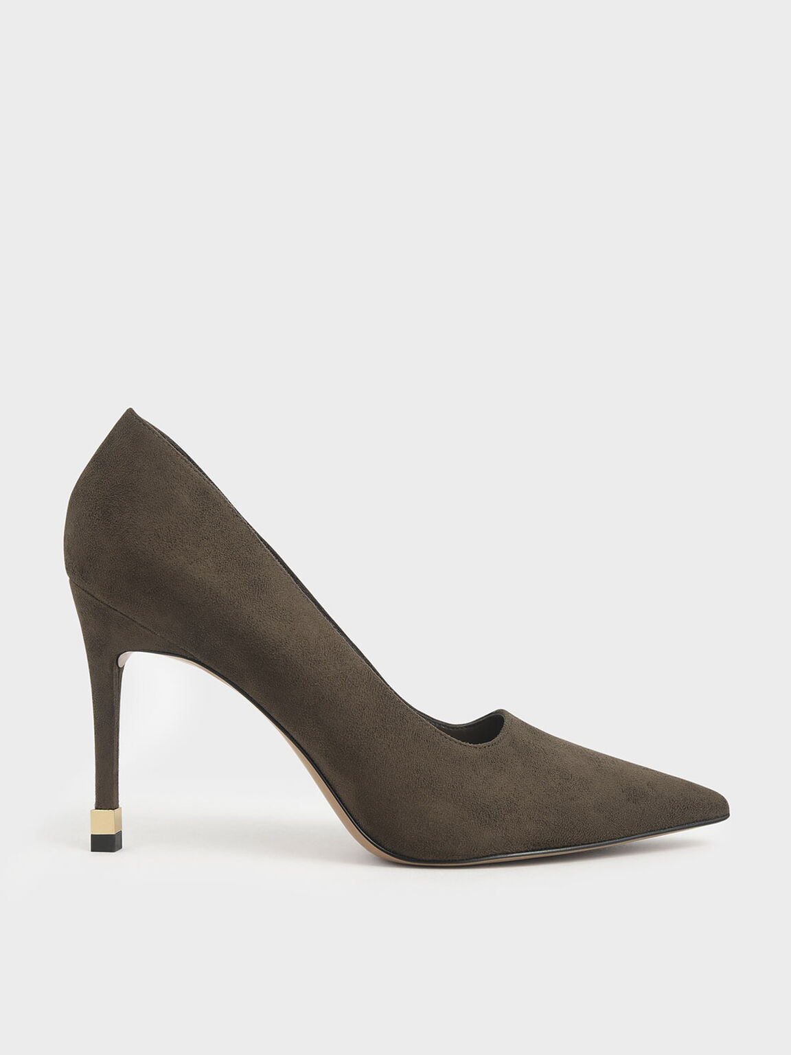 Textured Stiletto Pumps, Olive, hi-res