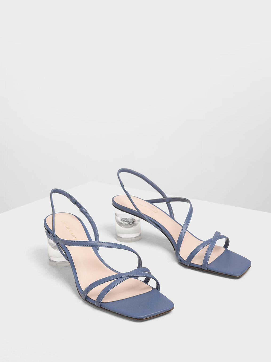 Asymmetric Strap Lucite Heel Sandals, Blue, hi-res