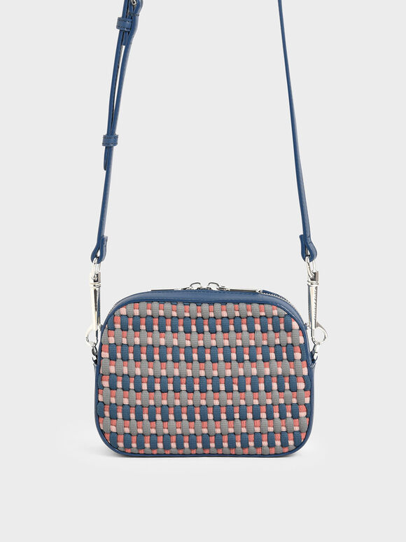 Multicoloured Woven Crossbody Bag, Teal, hi-res