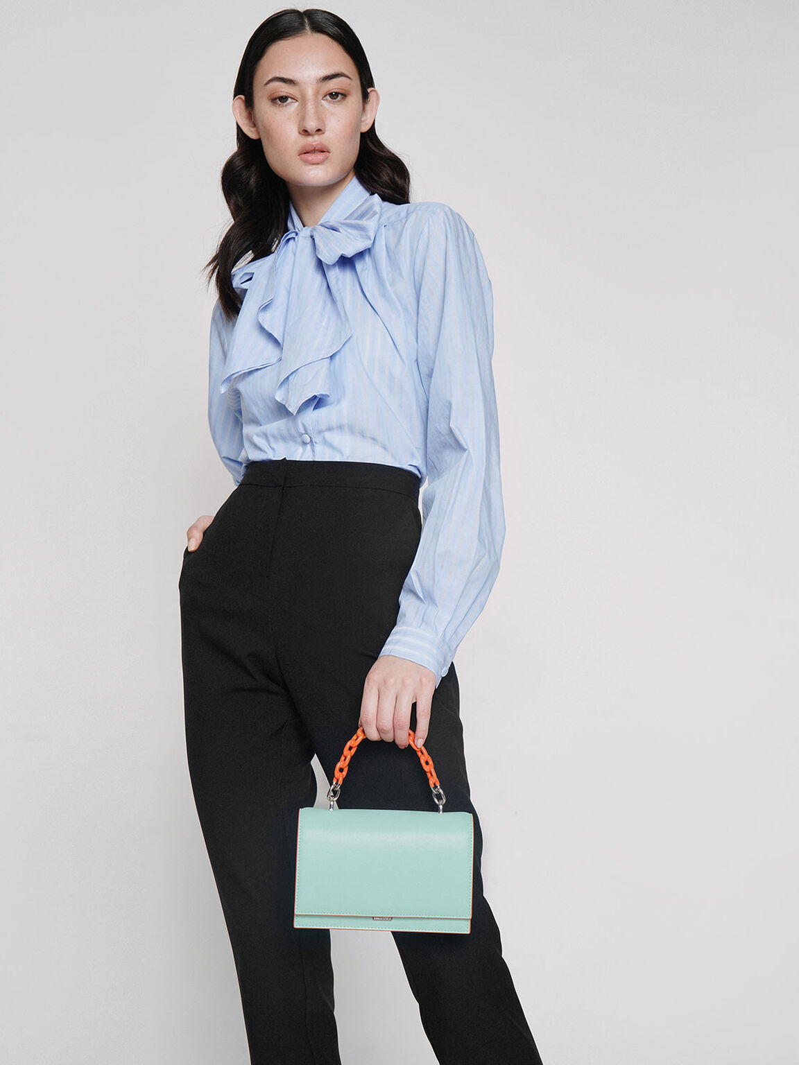 Two-Tone Chain Top Handle Bag, Mint Blue, hi-res