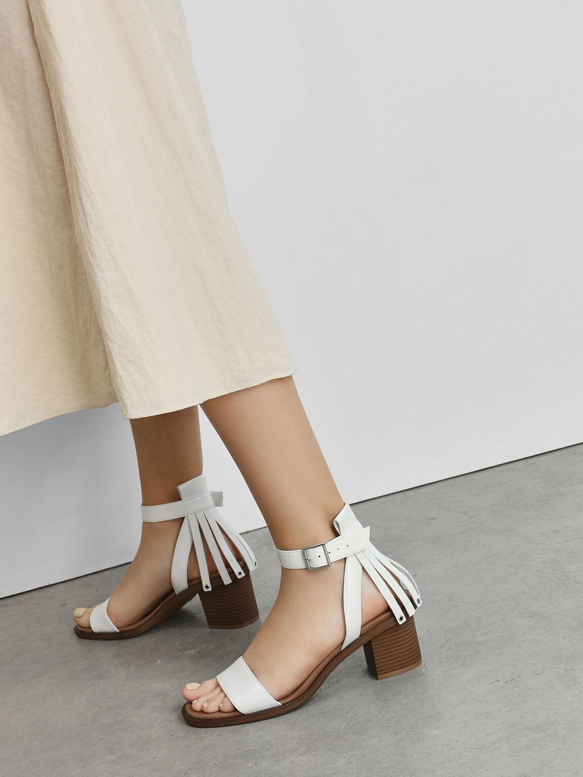 Fringe Trim Block Heel Sandals, White, hi-res