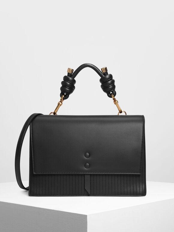 Knotted Detail Handle Bag, Black, hi-res