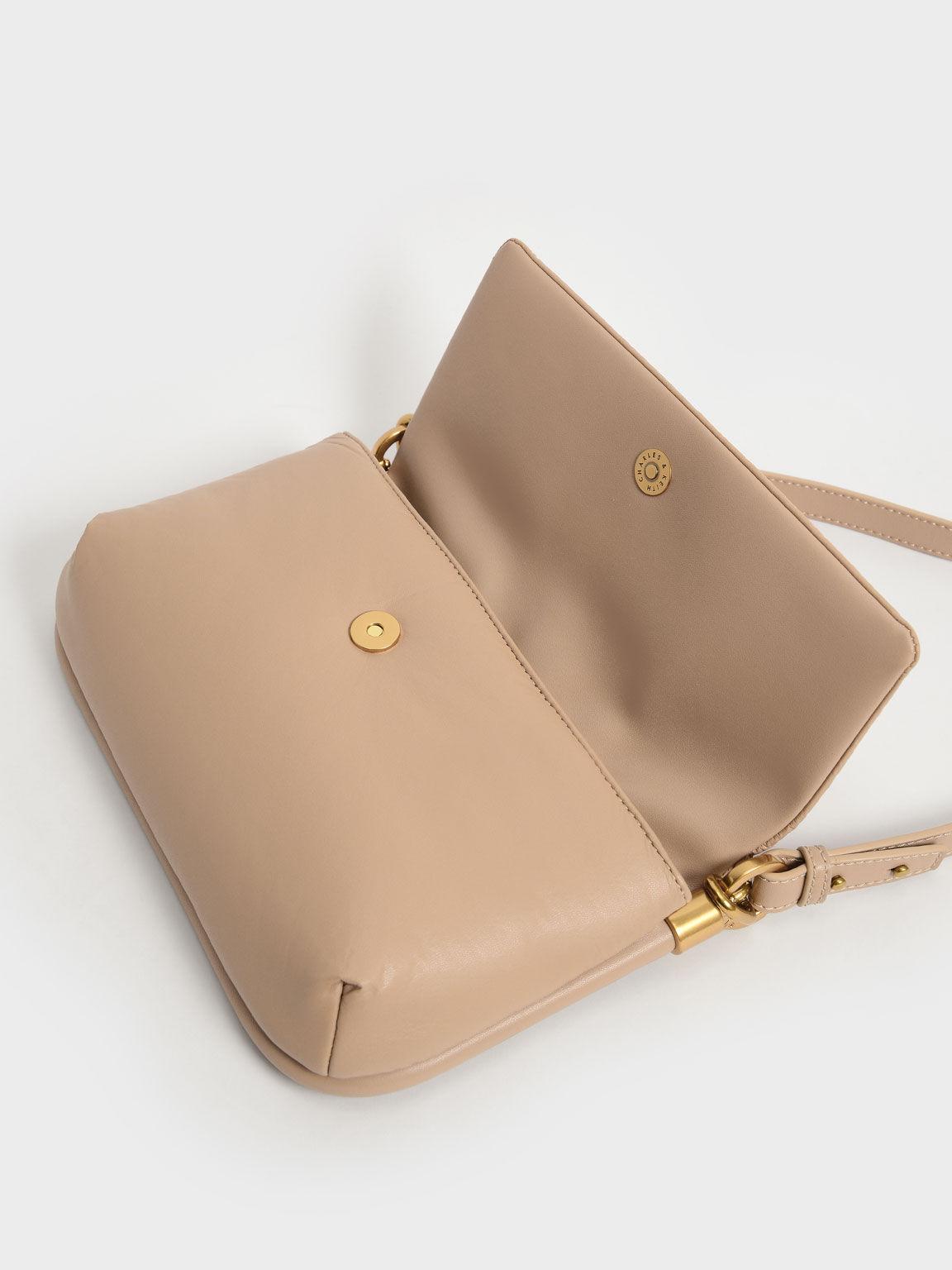 Zadie Padded Shoulder Bag, Beige, hi-res