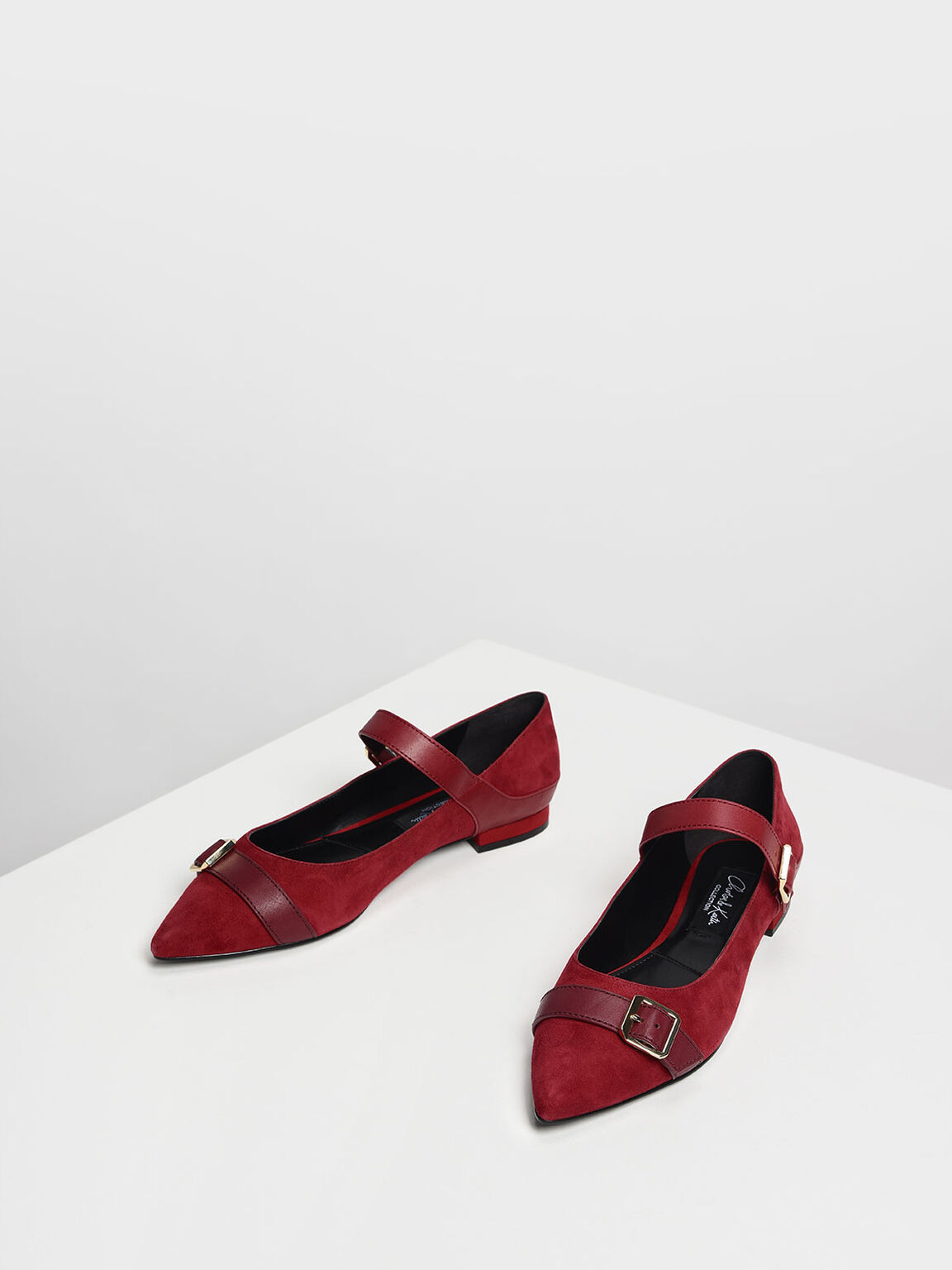 Leather Strap Detail Suede Flats, Red, hi-res