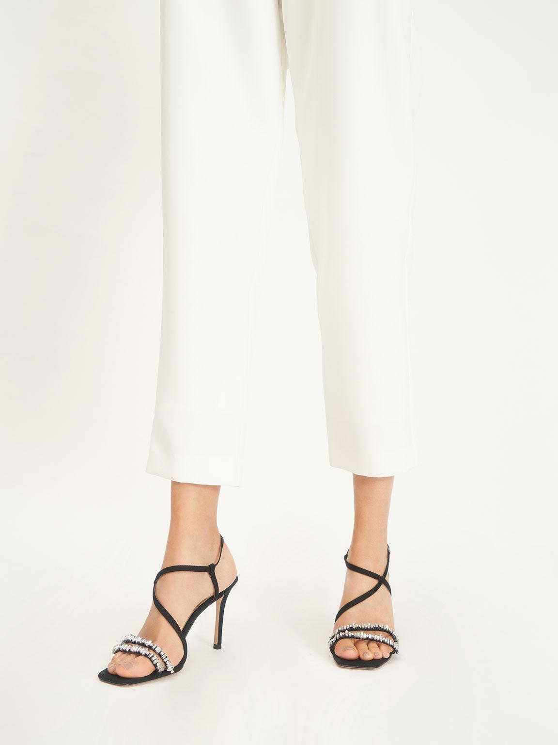 Canvas Gem-Embellished Sandals, Black, hi-res