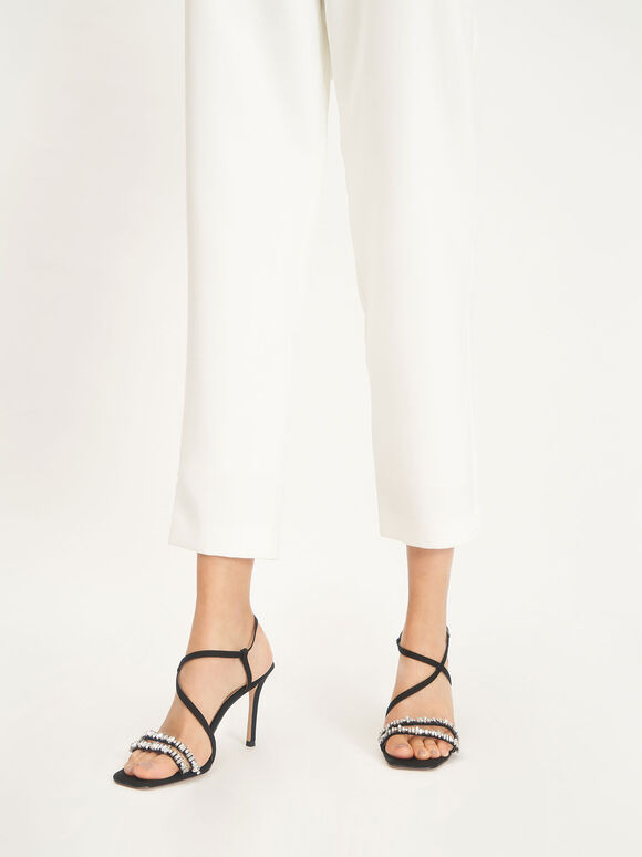 Canvas Gem-Embellished Sandals, Black, hi-res