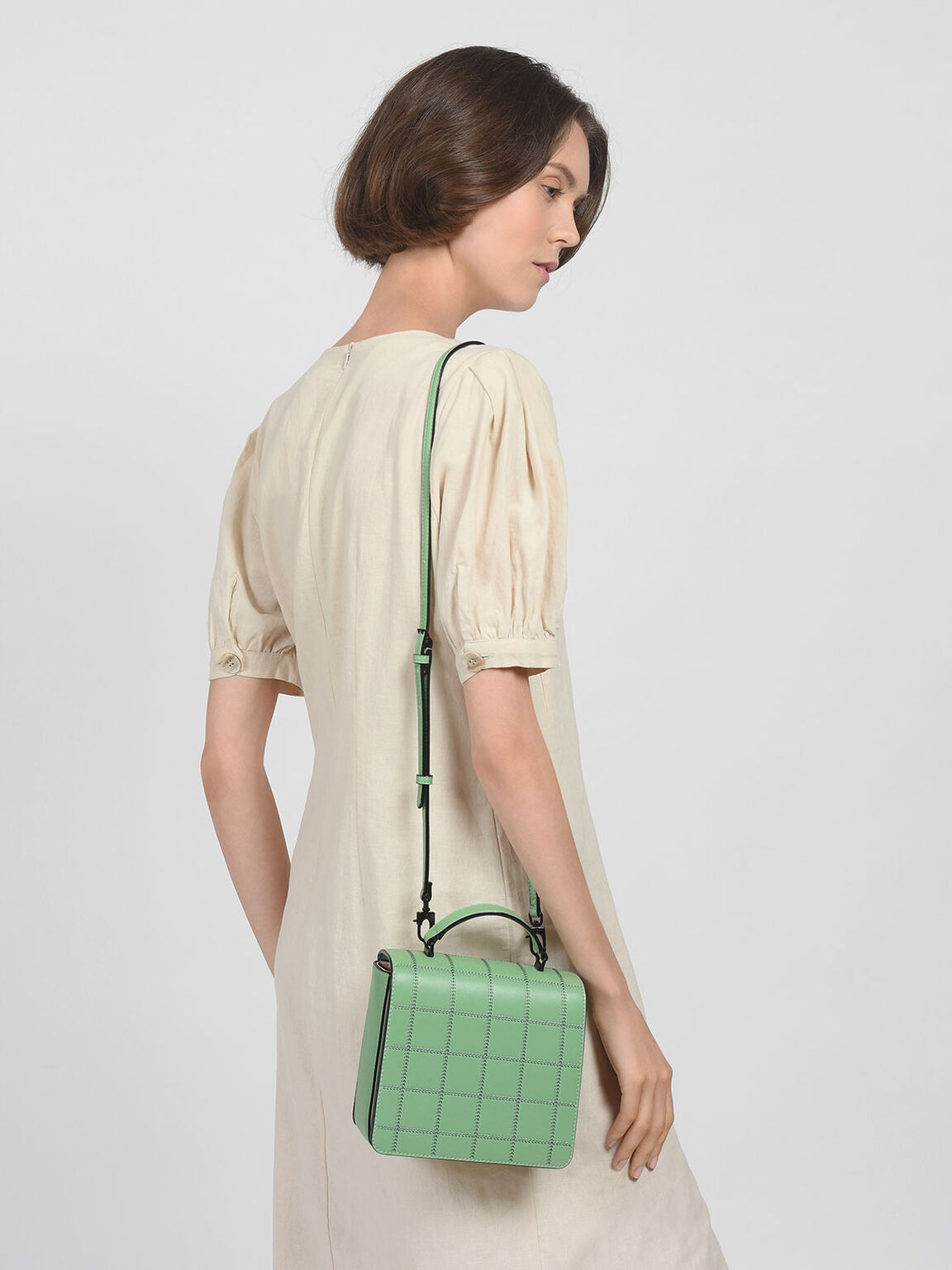 Quilted Front Flap Bag, Green, hi-res