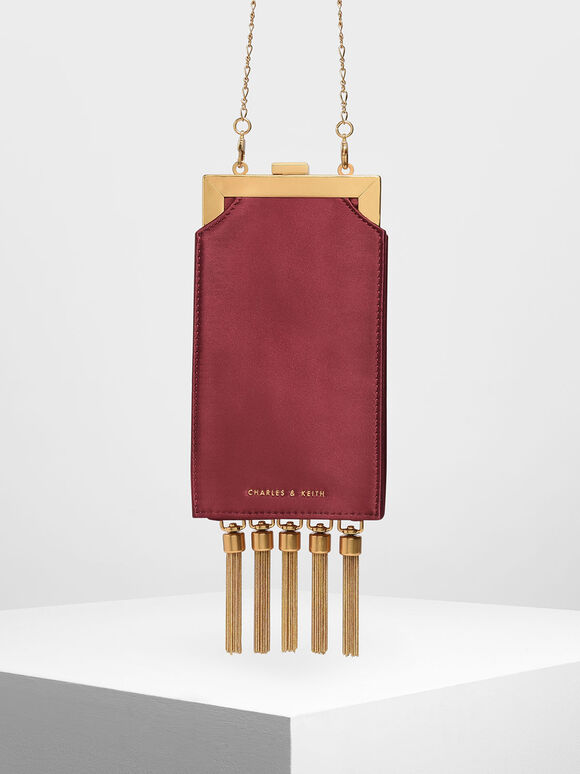 Satin Tassel Clutch, Red, hi-res
