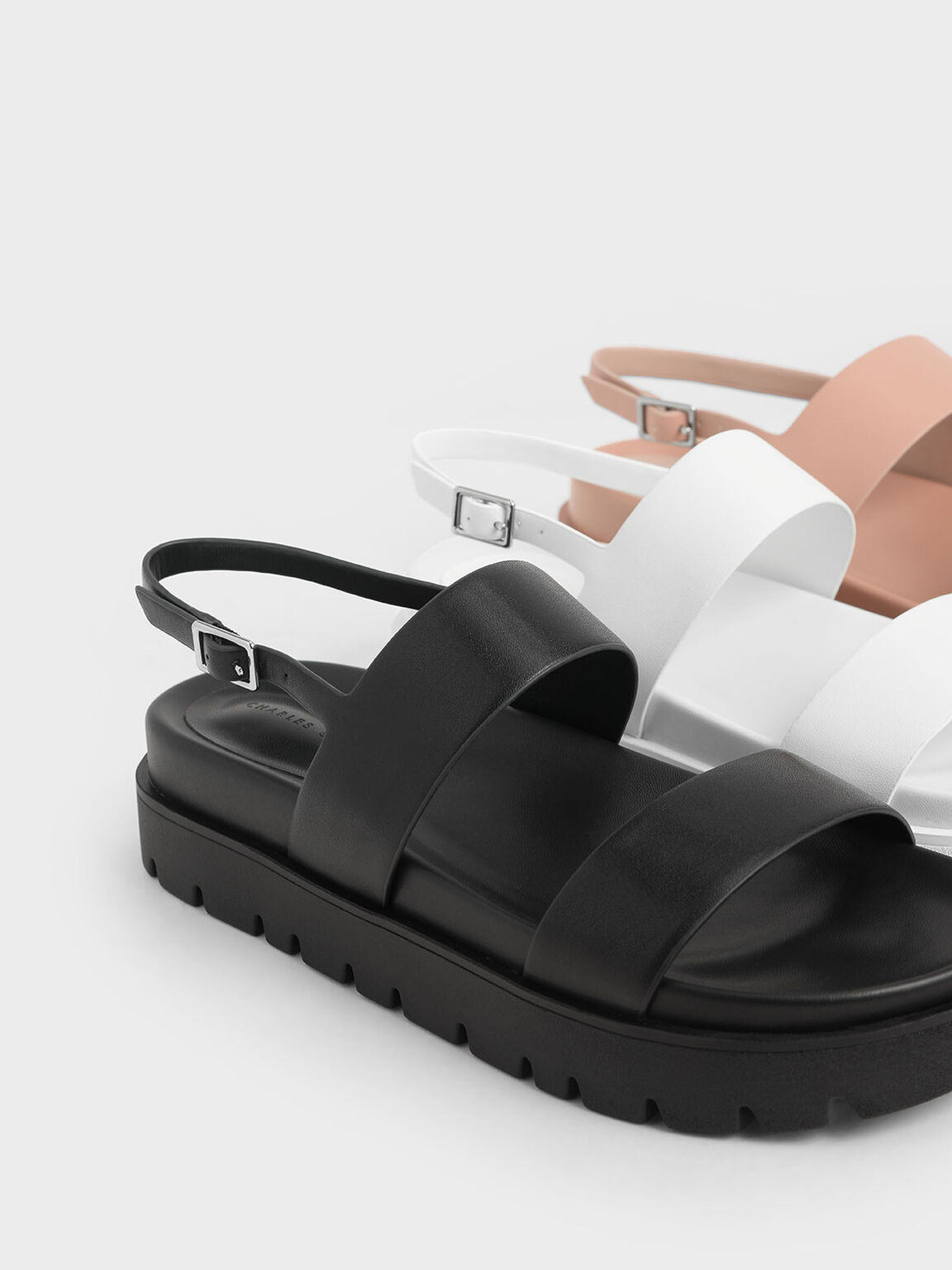 Flatform Sandals, Black, hi-res