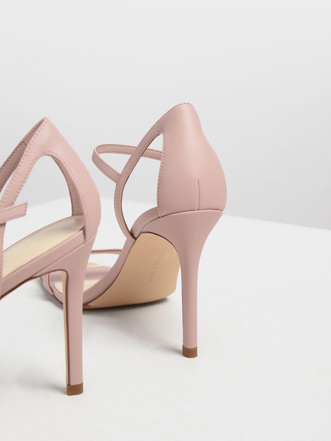 Square Toe Gold Detail Sandals, Nude, hi-res