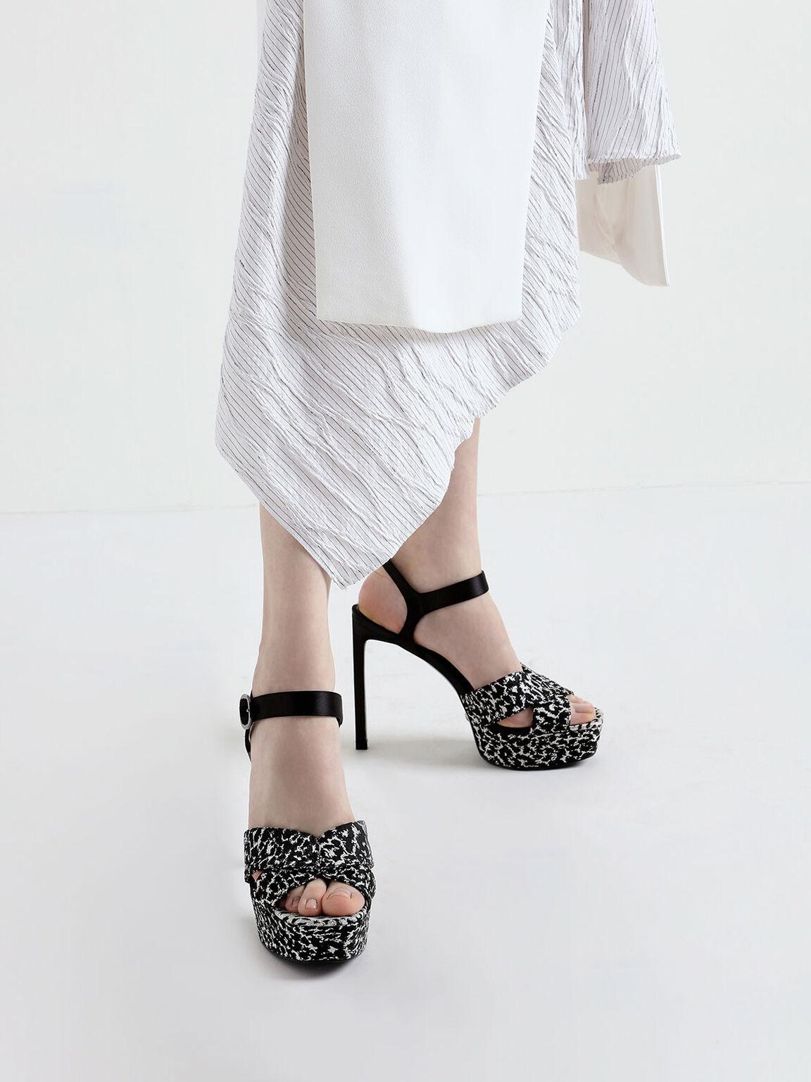 Printed Jacquard & Satin Platform Stiletto Heels, Multi, hi-res