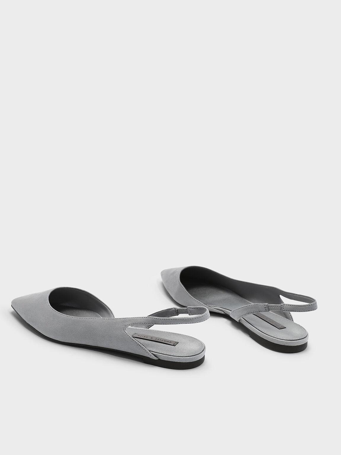 Slingback D'orsay Flats, Grey, hi-res