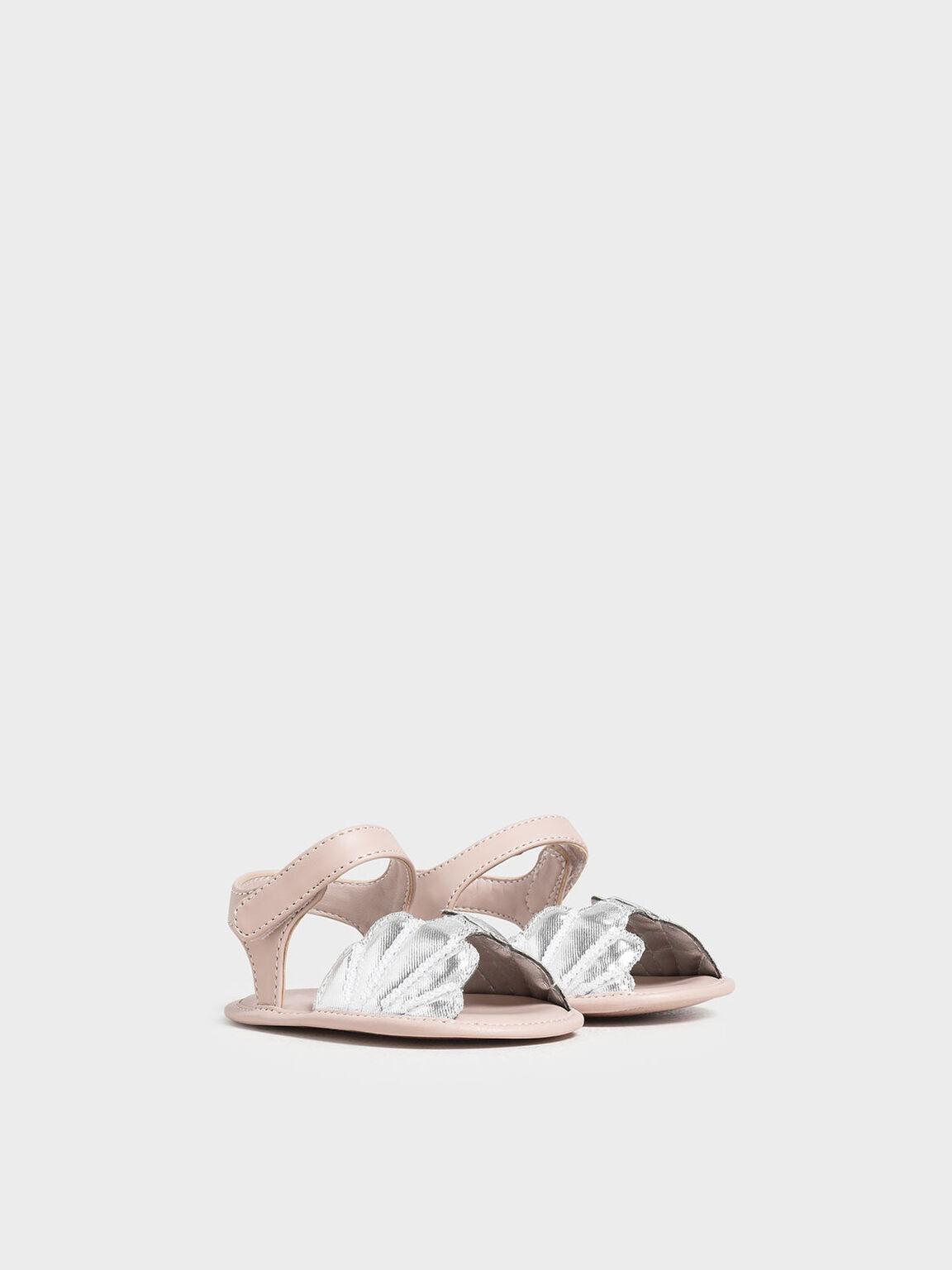 兒童貝殼造型涼鞋, 銀色, hi-res