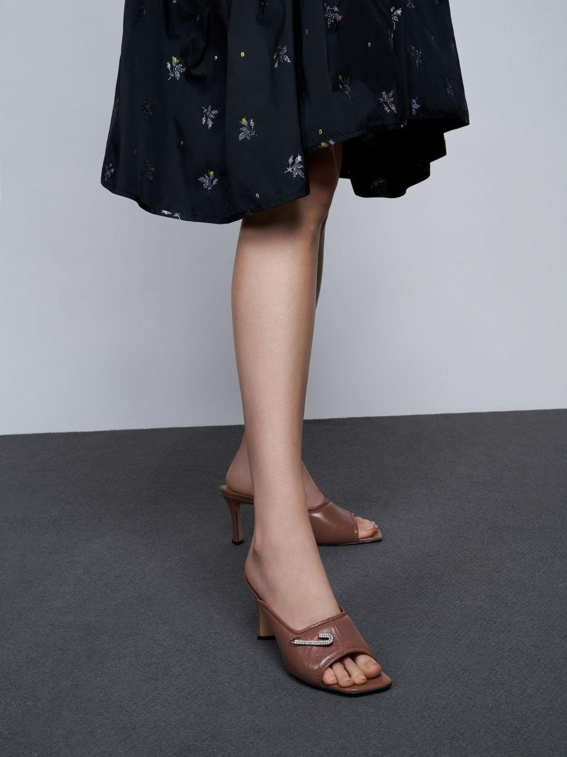 Gem-Embellished Leather Mules, Tan, hi-res