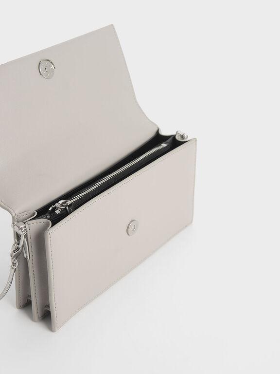 Demi Metal Top Handle Long Wallet, Grey