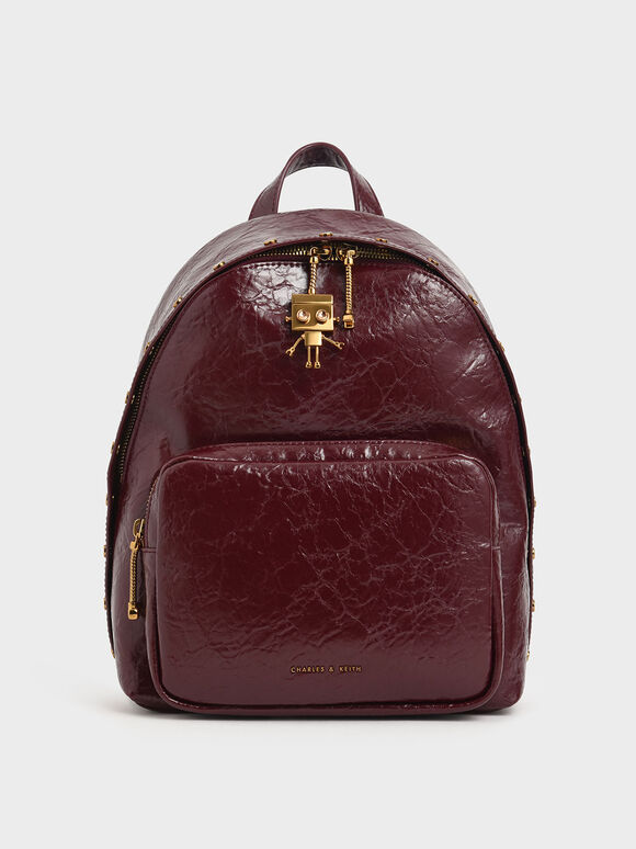 Robot Charm Wrinkled Effect Backpack, Burgundy, hi-res