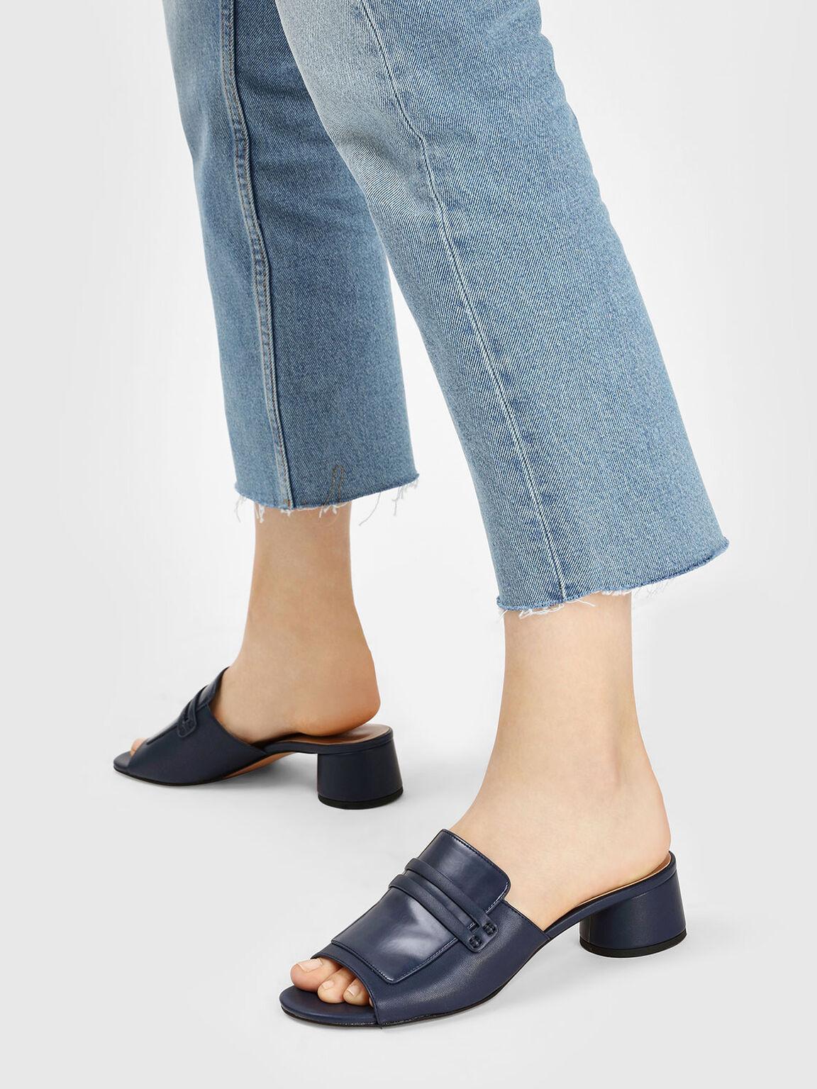 Cylindrical Block Heel Mules, Dark Blue, hi-res
