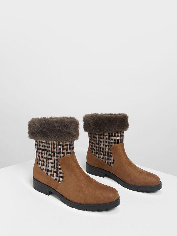 Furry Cuff Printed Boots, Cognac