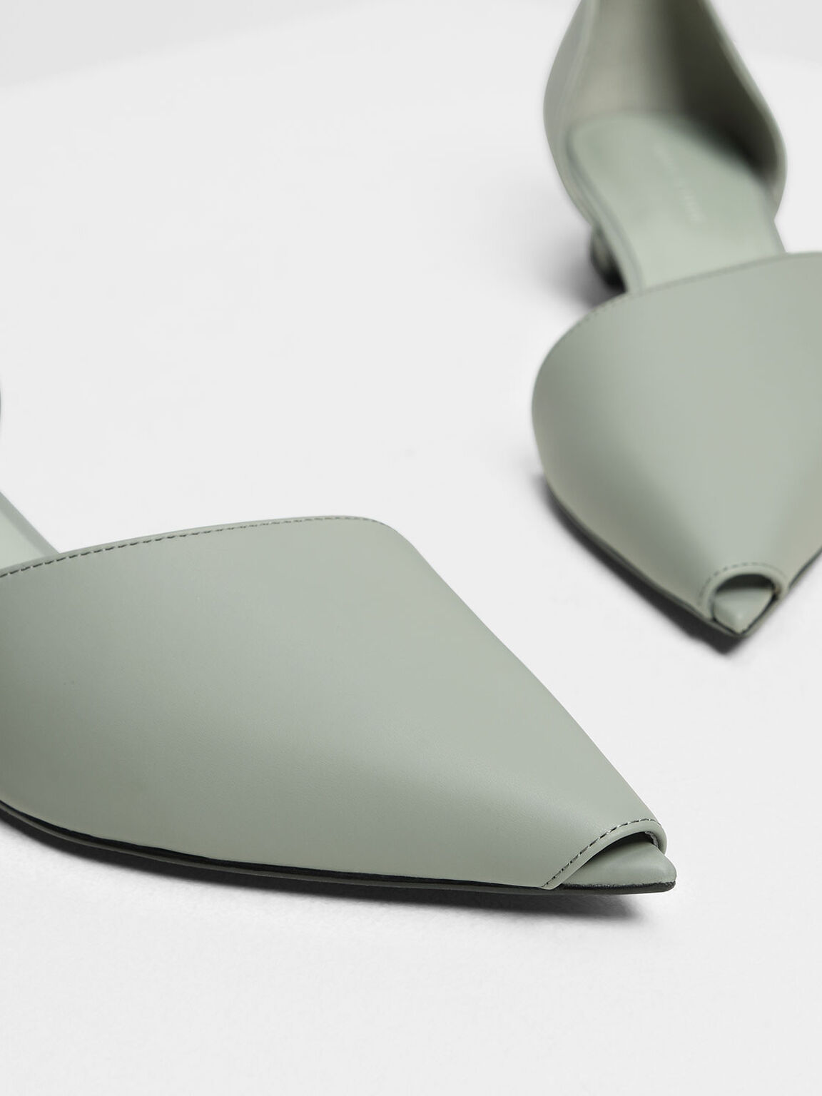 Asymmetrical Peep Toe Pumps, Sage Green, hi-res