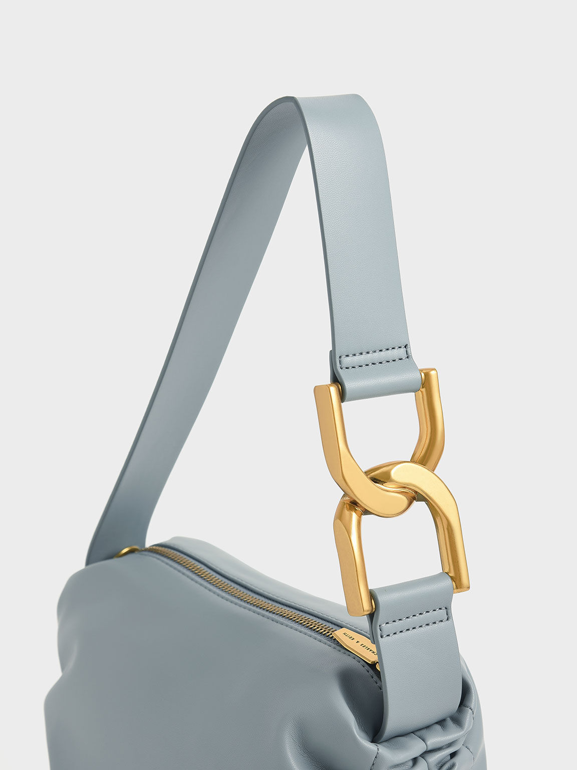 Ruched Hobo Bag, Steel Blue, hi-res